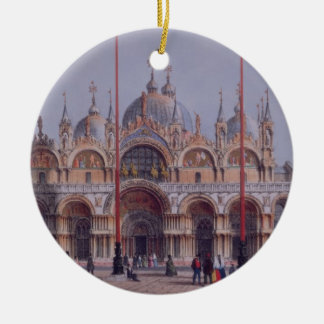 San Marco, Venice, engraved by Brizeghel (litho) Round Ceramic Decoration