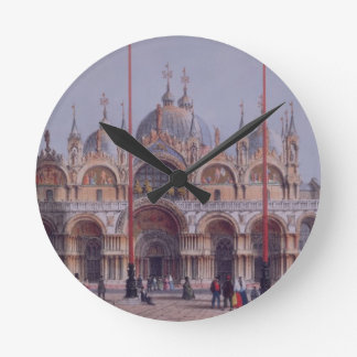 San Marco, Venice, engraved by Brizeghel (litho) Round Clock