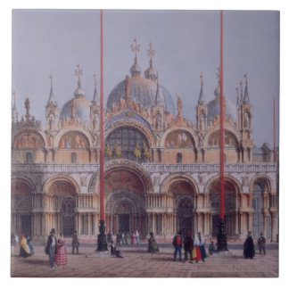 San Marco, Venice, engraved by Brizeghel (litho) Tile