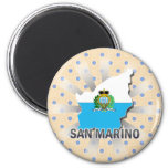 San Marino Flag Map 2.0 6 Cm Round Magnet