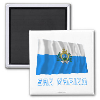 San Marino Waving Flag with Name Square Magnet