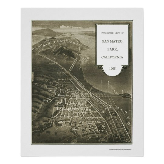 San Mateo Park, CA Panoramic Map - 1905 Poster
