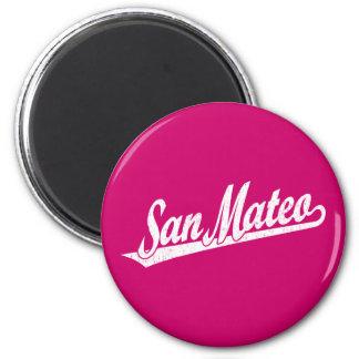 San Mateo script logo in white distressed Magnets