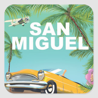 San Miguel El Salvador vintage travel poster Square Sticker