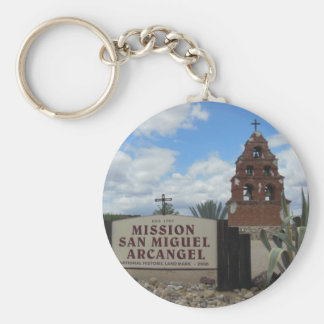 San Miguel Mission Bell Tower and Sign Basic Round Button Key Ring