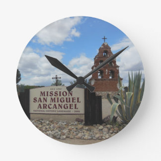 San Miguel Mission Bell Tower and Sign Round Clock