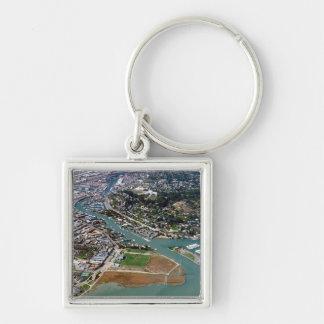 San Rafael Aerial Photograph Silver-Colored Square Key Ring