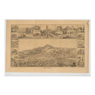 San Rafael, CA. Panoramic Map (1576A) Poster