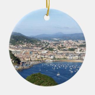 San Sebastian beautiful scenic coastline Christmas Ornament