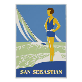San Sebastian, vector art retro travel small Poster