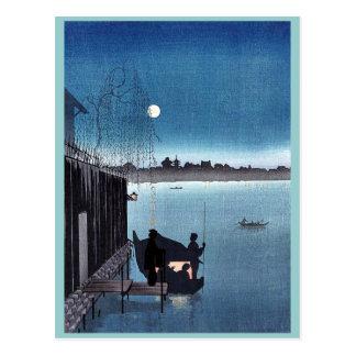 Sanbashi Bridge in Fukugawa at night Ukiyoe Postcard