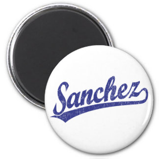 Sanchez script logo in blue 6 cm round magnet