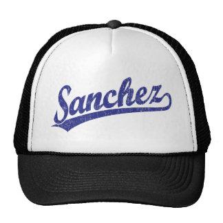 Sanchez script logo in blue cap