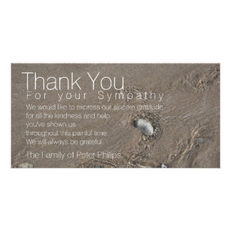 Sand 2 Modern Sympathy Thank You Personalised Photo Card