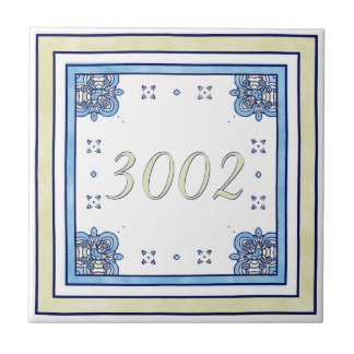 Sand and Blue Small House Number Small Square Tile