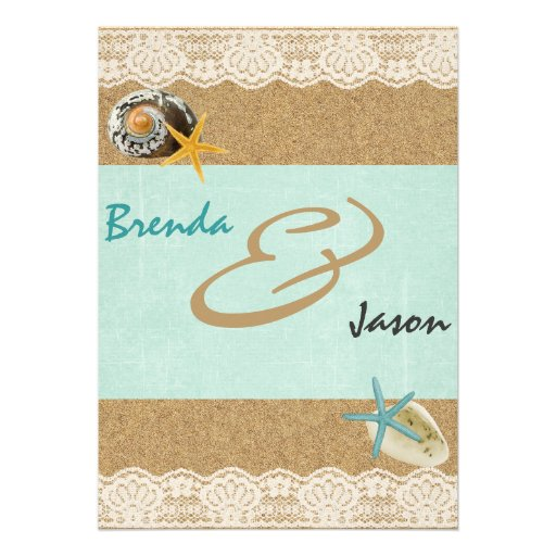 Sand and Lace rustic beach wedding invitation