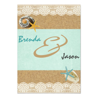 "Sand and Lace rustic beach wedding invitation 5"" X 7"" Invitation Card"