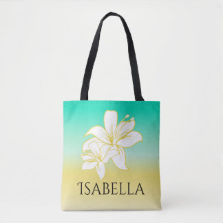 Sand and Sea Hibiscus Flower Personalized Tote Bag