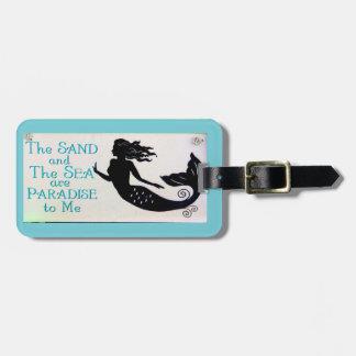 sand and sea mermaid blue luggage tag