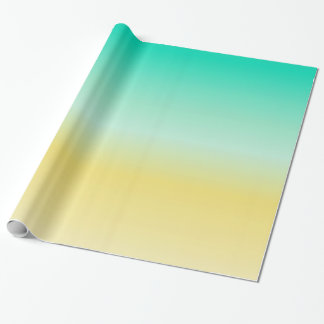 Sand and Sea Turquoise Gold Color Ombre Wrapping Paper