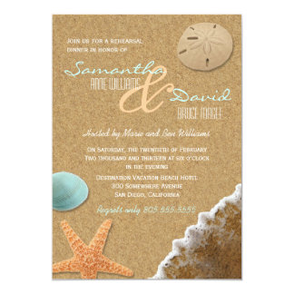 Sand and Shells Beach Rehearsal Dinner Invite