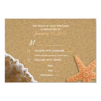 Sand and Shells Beach RSVP with Meal Options 9 Cm X 13 Cm Invitation Card