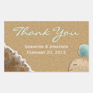 Sand and Shells Beach Theme Wedding Thank You Rectangular Sticker