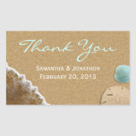 Sand and Shells Beach Theme Wedding Thank You Rectangle Sticker