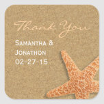 Sand and Shells Beach Theme Wedding Thank You Square Stickers