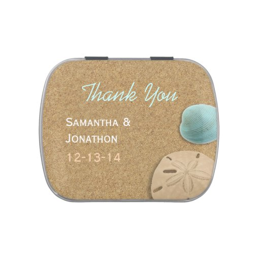 Sand and Shells Beach Theme Wedding Thank You Jelly Belly Candy Tins