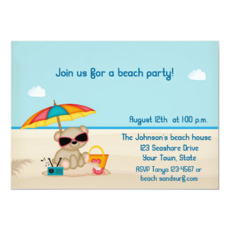 "Sand and Surf Beach Party 5"" X 7"" Invitation Card"