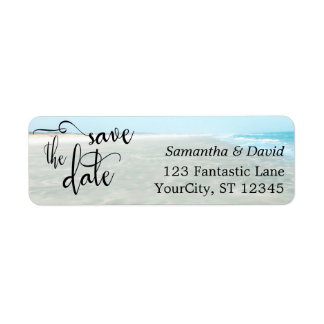 Sand & Aqua Water Photo Modern Beach Save the Date Return Address Label