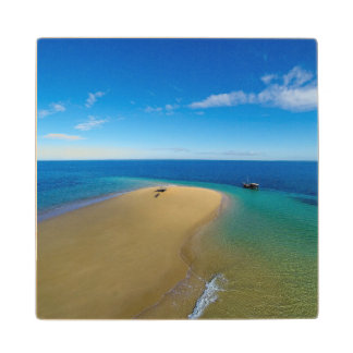 Sand Bar And Dhow | Ibo Island, Mozambique Wood Coaster