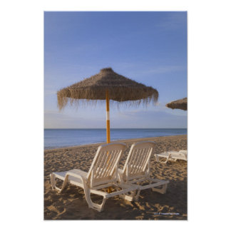 Sand Beach Chairs with Umbrella Poster