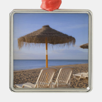 Sand Beach Chairs with Umbrella Silver-Colored Square Decoration