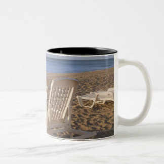 Sand Beach Chairs with Umbrella Two-Tone Coffee Mug