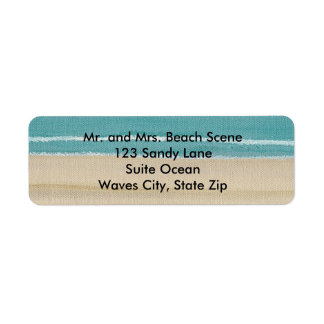 Sand Beach Ocean Waves Scene Address Labels
