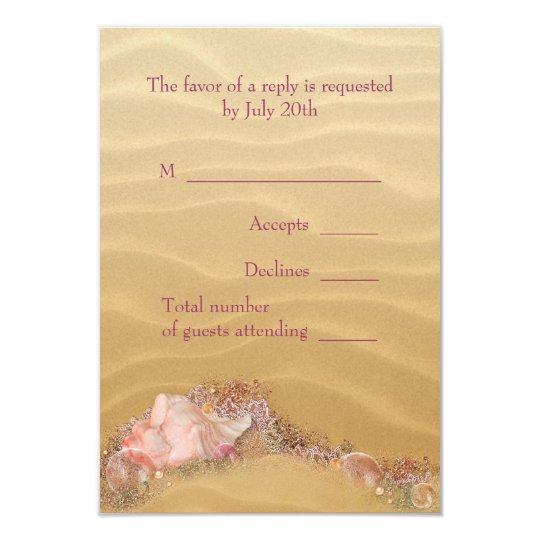 Sand Beach Seashells Beach Wedding RSVP Card