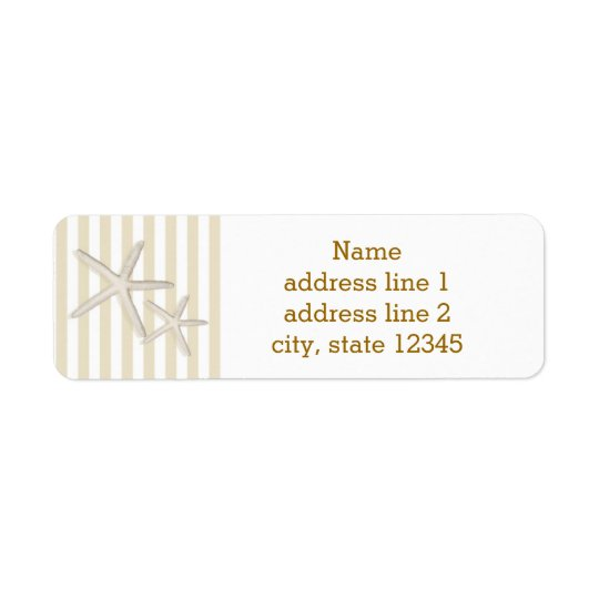 Sand Beige Striped Beach Starfish Address Label