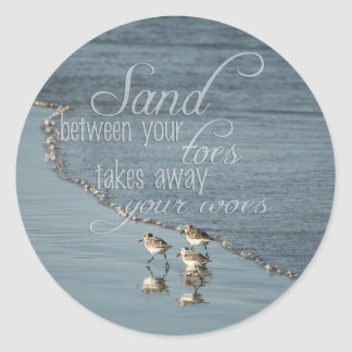 Sand Between Your Toes Beach Quote Envelope Seals Round Sticker
