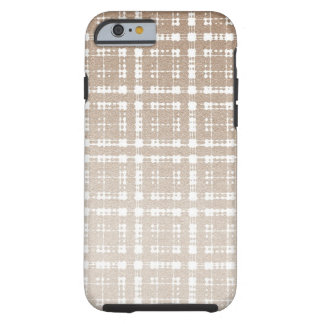 Sand Brown Color Modern Plaid Netted Ombra 3 Tough iPhone 6 Case