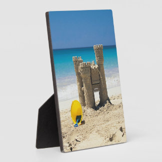 Sand Castle And Pail On Tropical Beach Plaque
