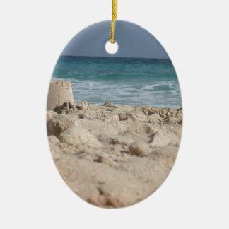 sand castle ceramic oval decoration