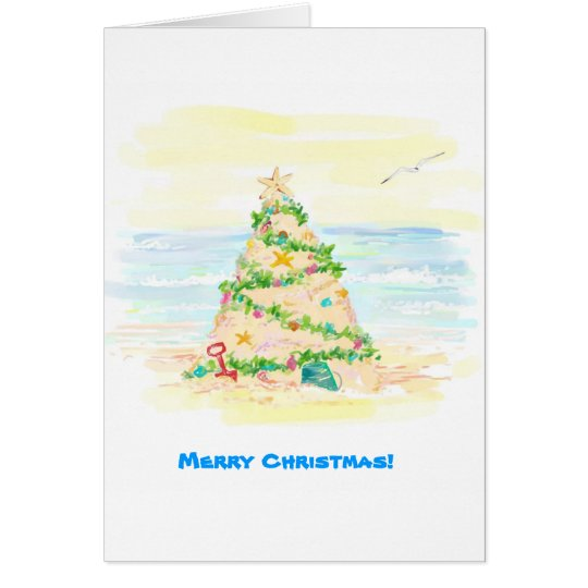 Sand Castle Christmas Tree Card
