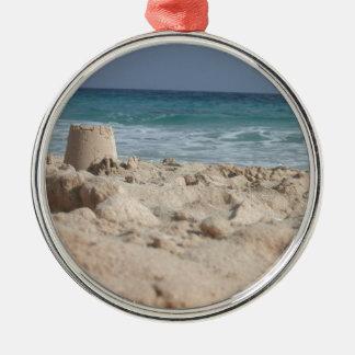 sand castle Silver-Colored round decoration