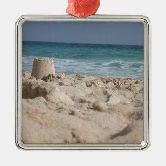 sand castle Silver-Colored square decoration