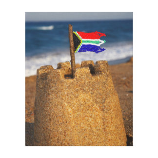 Sand Castle With South African Flag, Umhlanga Stretched Canvas Print