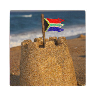 Sand Castle With South African Flag, Umhlanga Wood Coaster