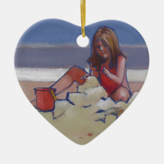 Sand Child Cute little girl playing on beach Ceramic Heart Decoration
