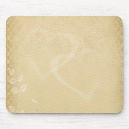 Sand Color Vintage Hearts Mouse Pad